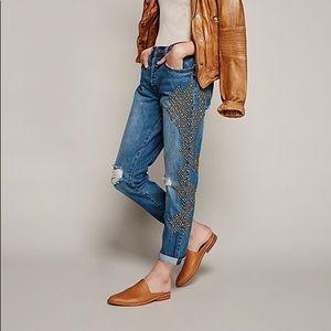Free People Abbie Studded Boyfriend Jeans 28